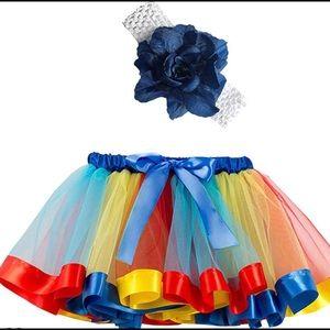 Rainbow Tutu Skirt,Girls Layered Tulle Rainbow